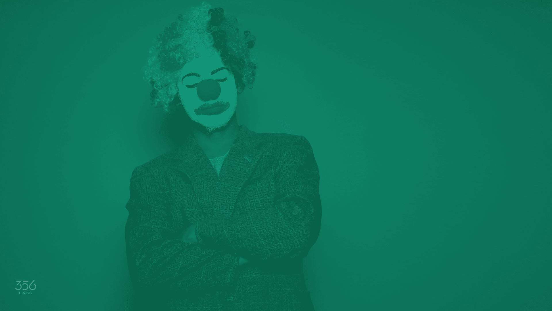 An image with a sad clown
