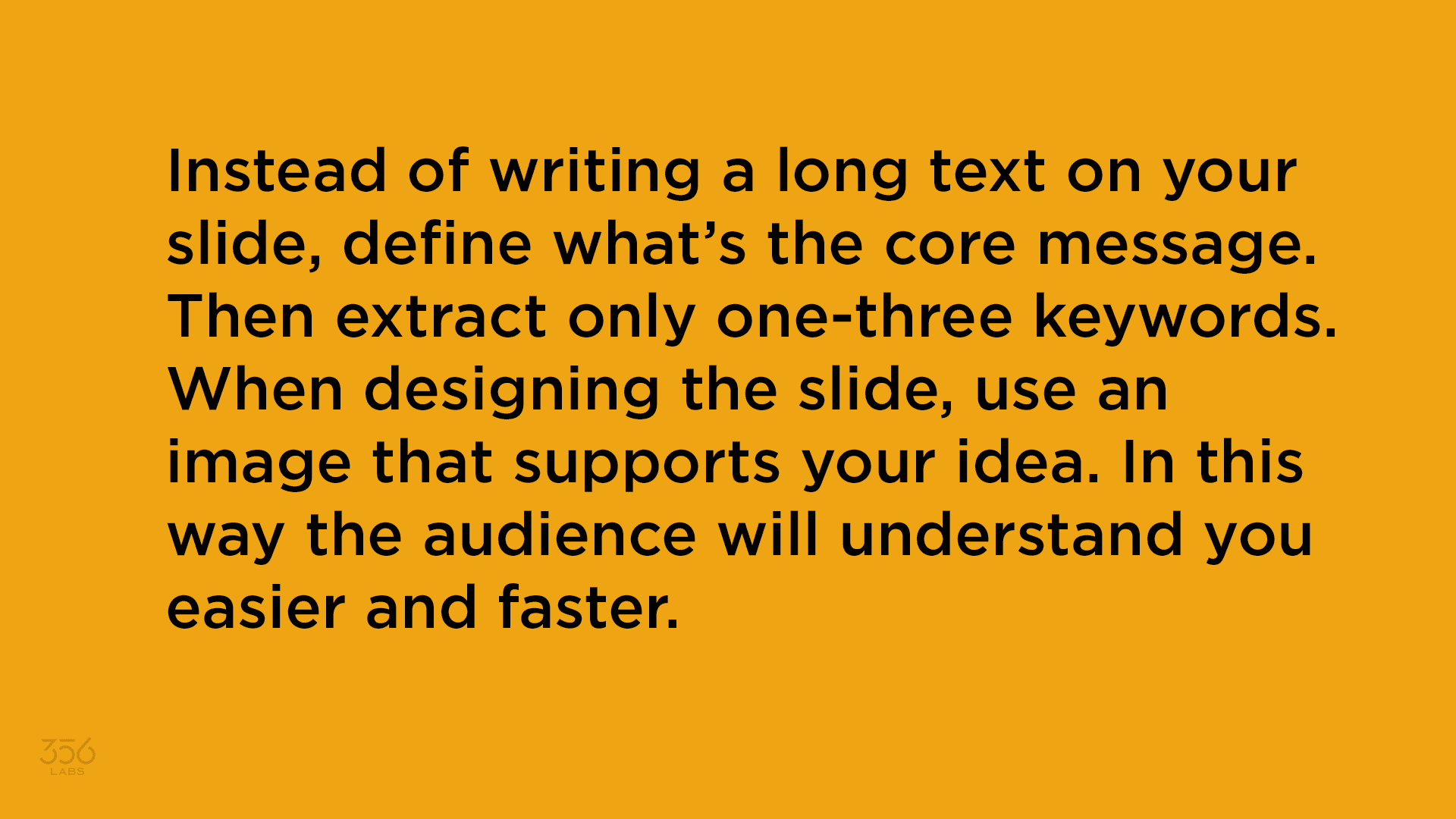 An image describing the negatives of long text on slides