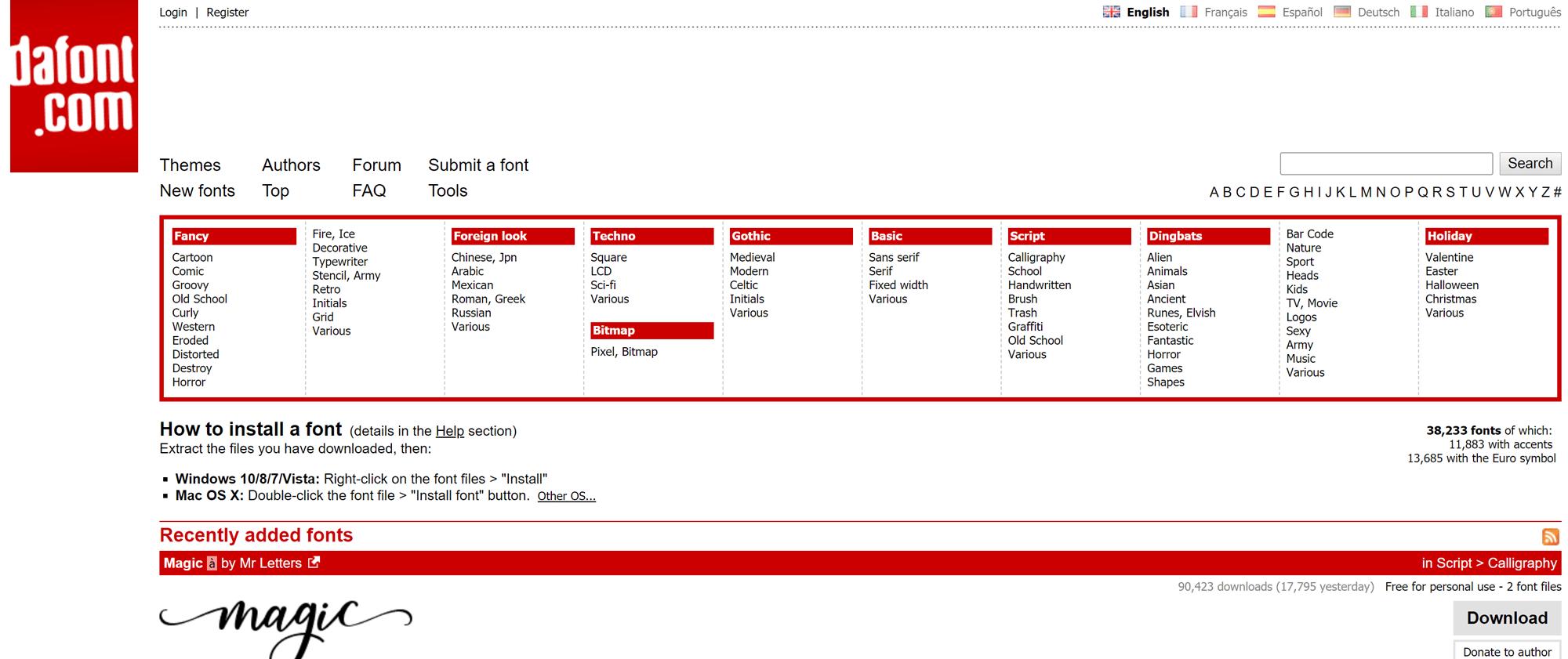 Screenshot of Dafont website that includes free fonts