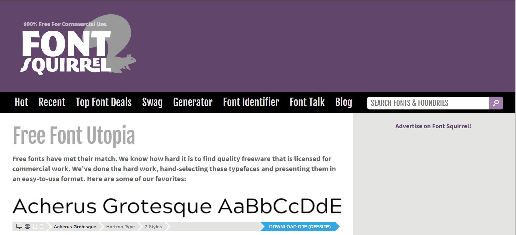Screenshot of Font Squirrel website for free fonts