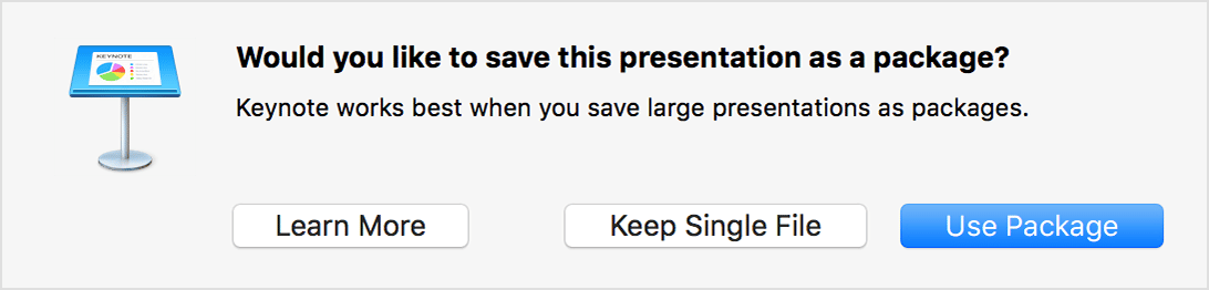 Saving Keynote Presentation as a Package