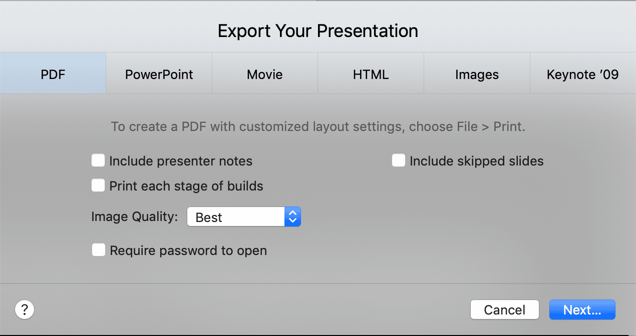 Export Keynote Presentation to PDF