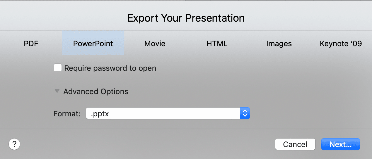Export Keynote Presentation To PowerPoint