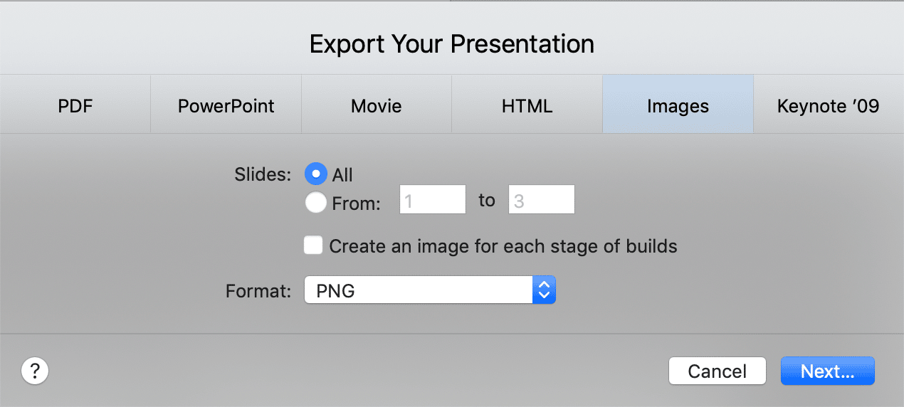 Export Keynote Presentation to Image