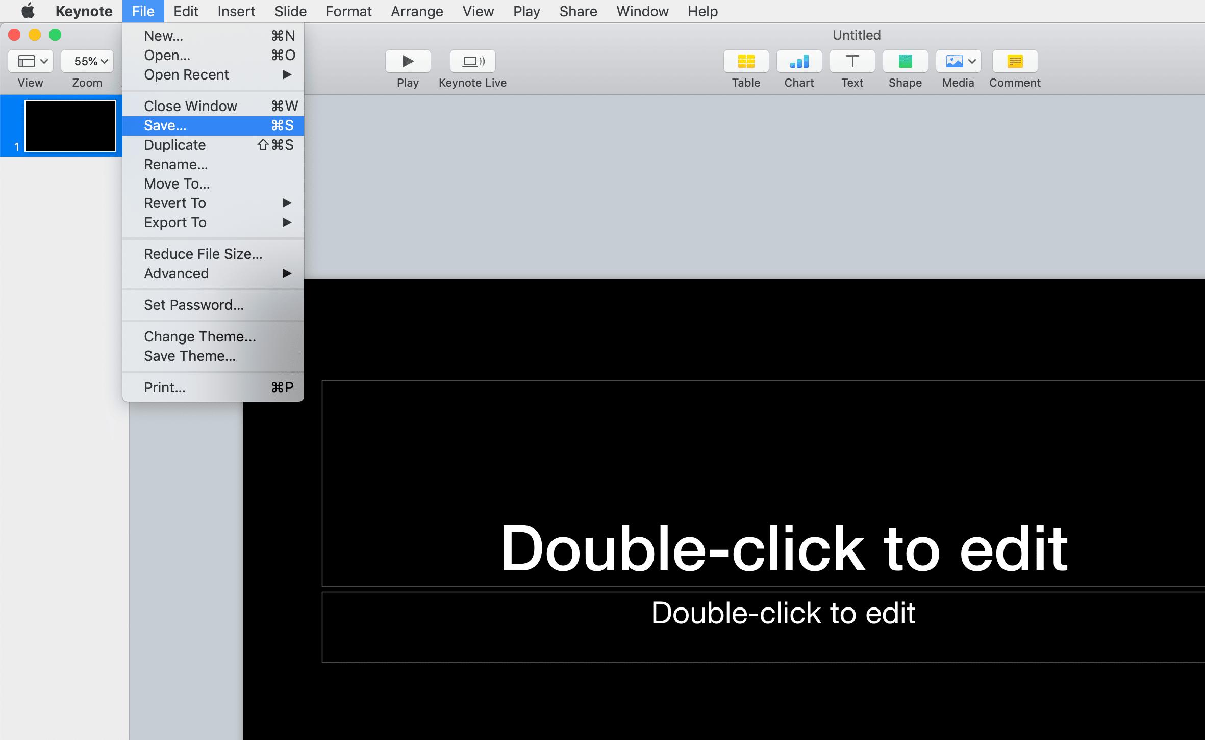 Saving a Presentation in Keynote