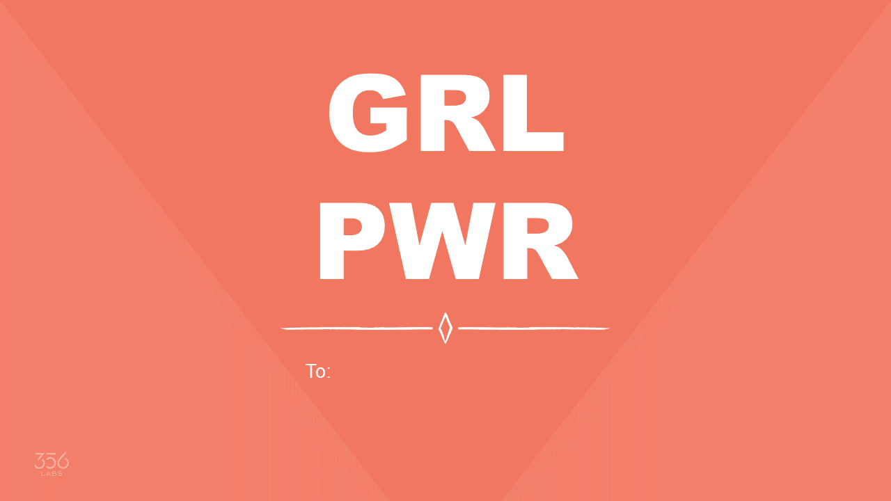 GRL PWR Text on a orange background