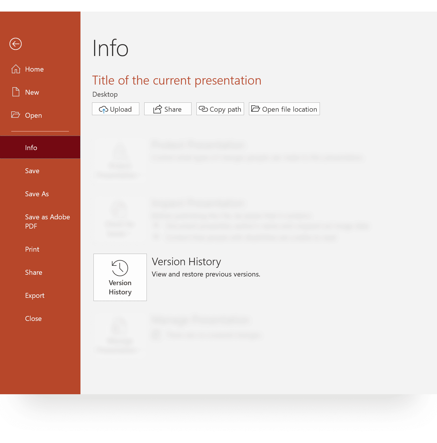PowerPoint Document Version History