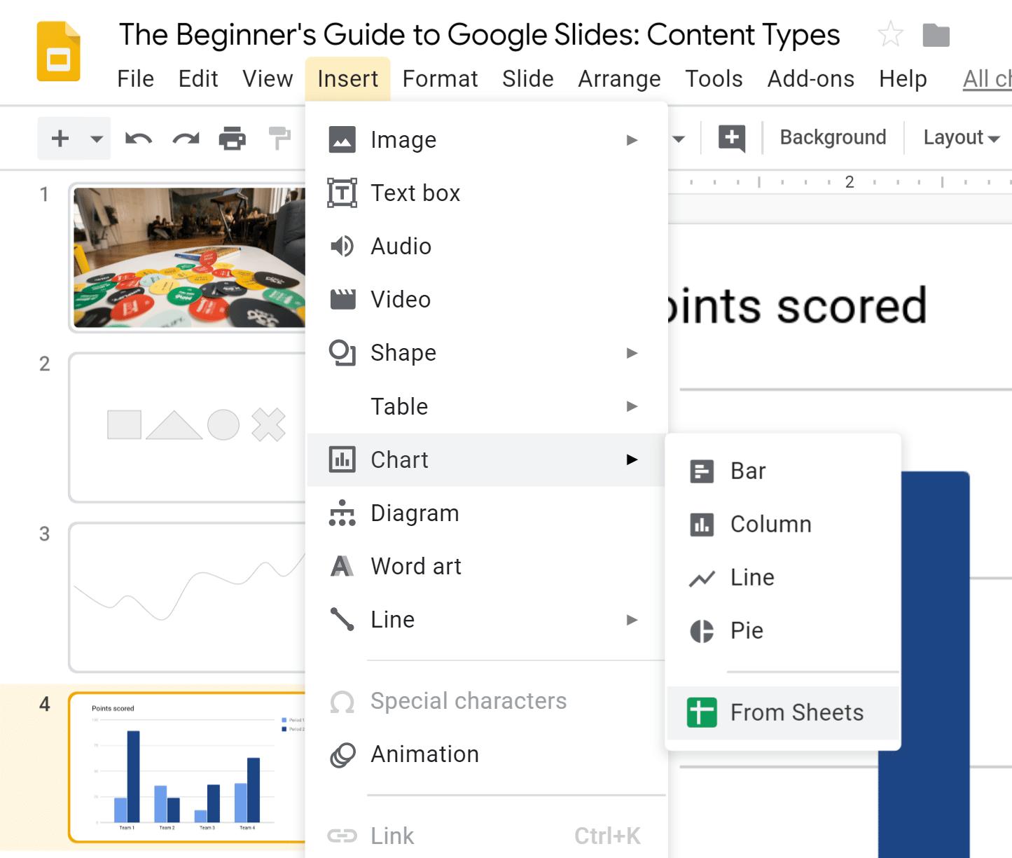 Google Slides Data Visualization - Charts