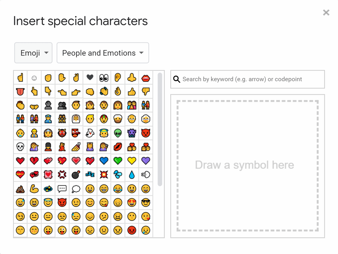 Google Slides Special Characters and Emojis