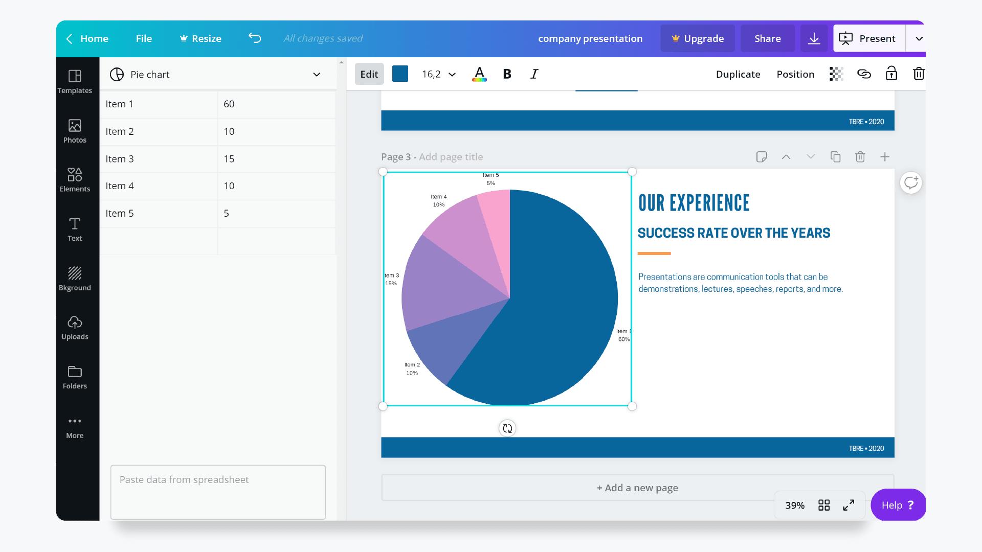 Presentation Design with Canva - Charts