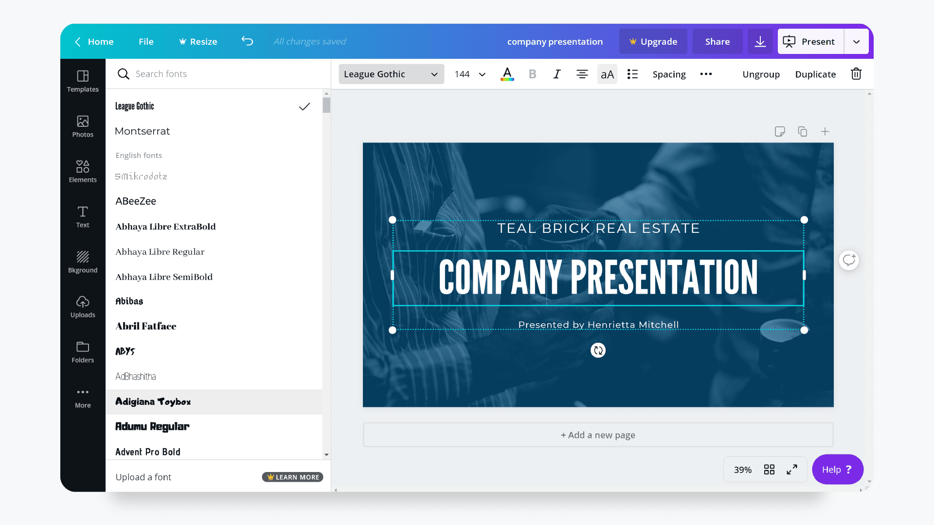 Presentation Design with Canva - Fonts