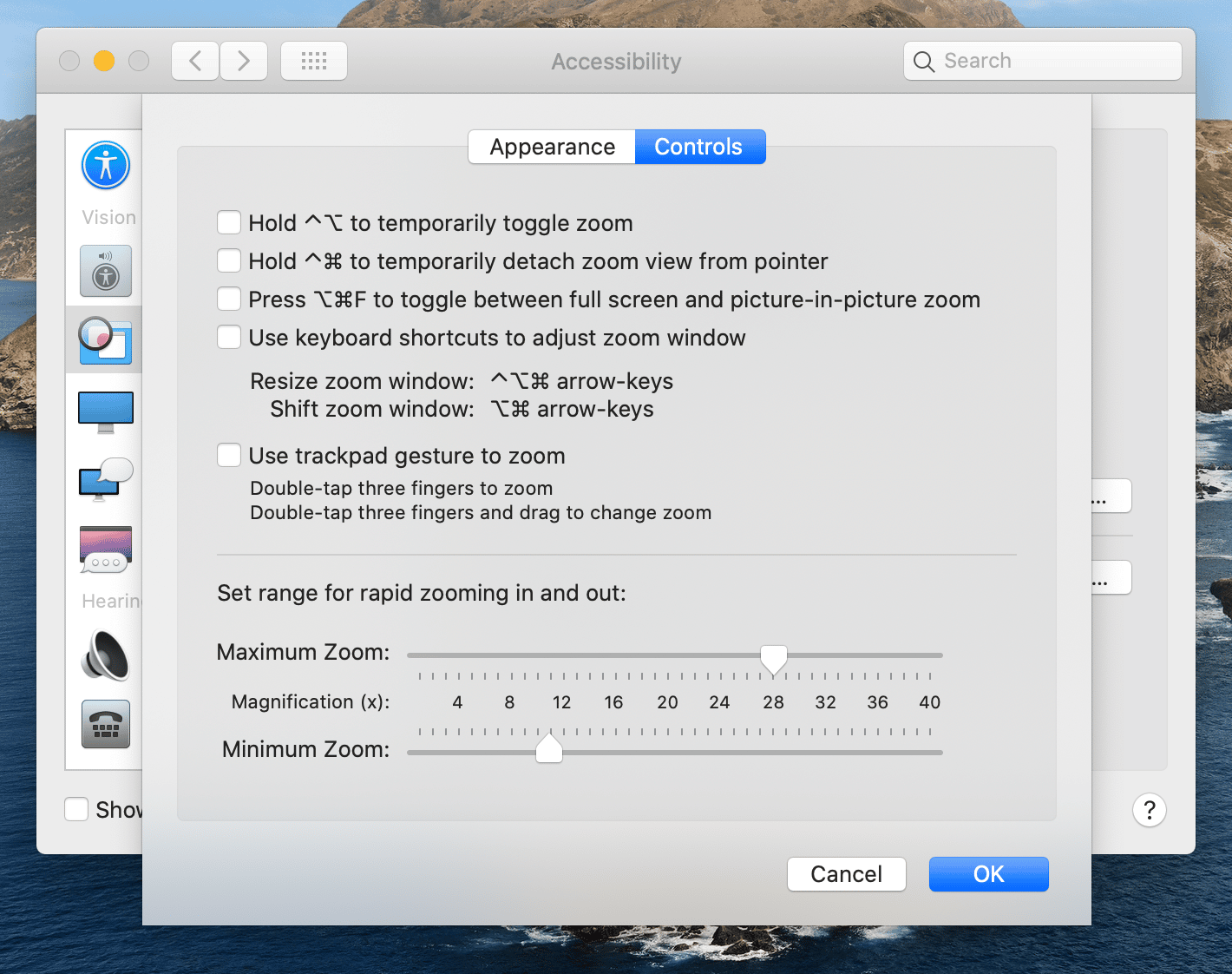 Zooming controls on Mac